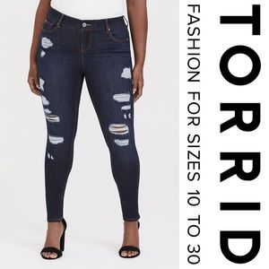Torrid Bombshell Skinny Distressed Dark Wash Jean